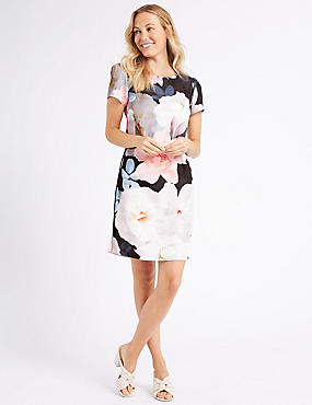 Floral Print Satin Short Sleeve Tunic Dress , BLACK MIX, catlanding