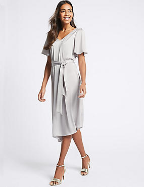 Satin Asymmetric Tunic Maxi Dress