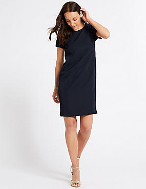 Short Sleeve Tunic Dress, NAVY, catlanding