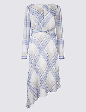 Checked Knot Front Tunic Midi Dress