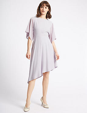 Asymmetric Half Sleeve Tunic Midi Dress , LILAC, catlanding