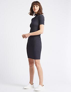 Textured Jersey Bodycon Midi Dress, CHARCOAL, catlanding