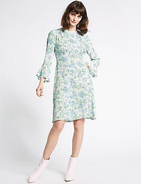 Floral Print Long Sleeve Tea Dress , BLUE MIX, catlanding