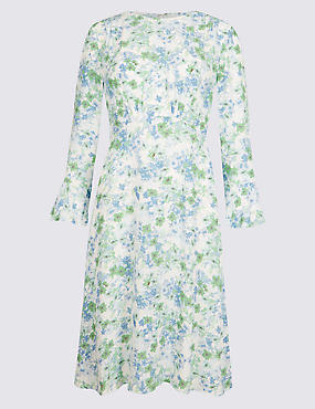 Floral Print Long Sleeve Tea Dress , BLUE MIX, catlanding
