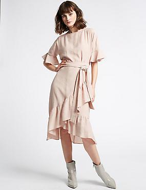 Ruffle Half Sleeve Swing Dress , PINK, catlanding