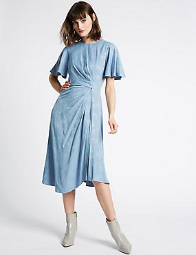 Jacquard Print Short Sleeve Midi Dress, BLUE, catlanding
