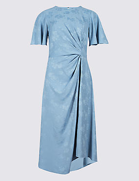 Jacquard Print Short Sleeve Wrap Midi Dress , BLUE, catlanding
