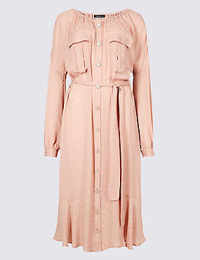 Jacquard Print Swing Midi Dress , BLUSH, catlanding