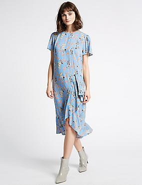 Floral Print Short Sleeve Swing Midi Dress , BLUE MIX, catlanding