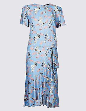 Floral Print Short Sleeve Swing Midi Dress , BLUE MIX, catlanding