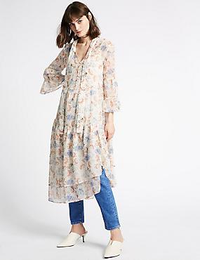 Floral Print Asymmetric Midi Dress, IVORY MIX, catlanding