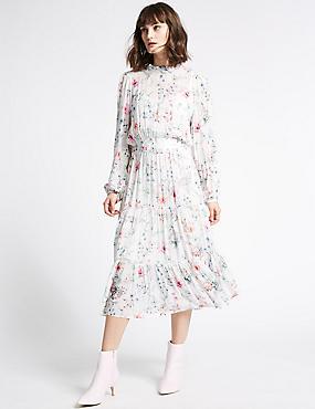 Floral Print Long Sleeve Midi Dress, IVORY MIX, catlanding