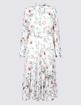 Floral Print Long Sleeve Swing Maxi Dress , IVORY MIX, catlanding