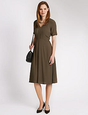 Ladder Trim Shift Dress