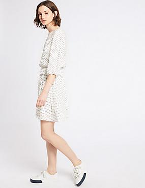 Spotted 3/4 Sleeve Mini Tea Dress, IVORY, catlanding