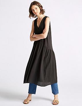 Cotton Rich Swing Midi Dress , BROWN MIX, catlanding