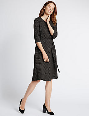 Loose Fit Lace Shift Wooly Spotted Dress