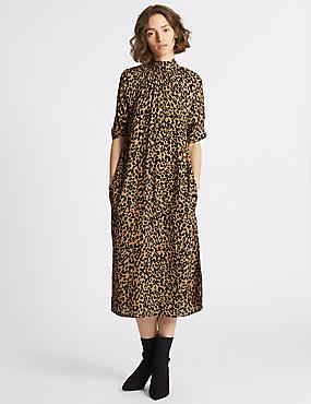 Animal Print Half Sleeve Shift Midi Dress , BROWN MIX, catlanding