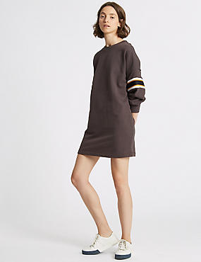 Pure Cotton Striped Long Sleeve Jumper Dress, CHARCOAL, catlanding
