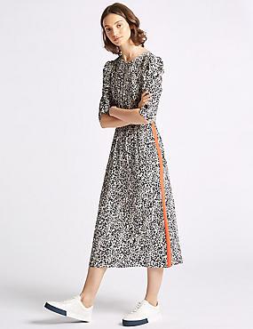 Animal Print Half Sleeve Tea Midi Dress , IVORY MIX, catlanding