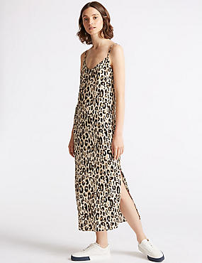 Animal Print Slip Midi Dress, BROWN MIX, catlanding