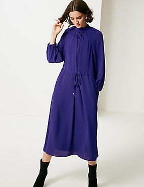 3/4 Sleeve Tea Dress , COBALT, catlanding