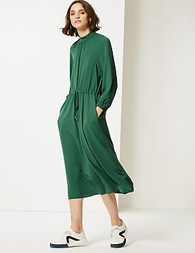 3/4 Sleeve Tea Dress , EMERALD, catlanding
