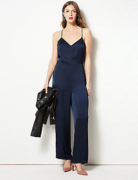 Tipped Jumpsuit , NAVY MIX, catlanding