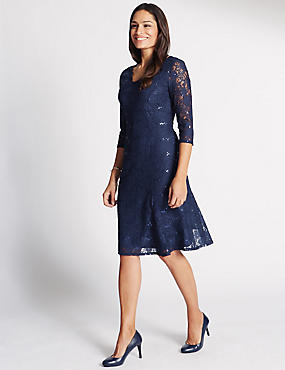 Lace V-Neck Fit & Flare Dress