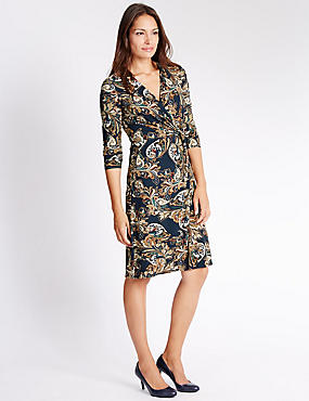 3/4 Sleeve Paisley Print Dress