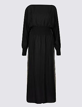 Long Sleeve Tea Midi Dress , BLACK MIX, catlanding