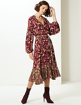 Floral Print Long Sleeve Tea Midi Dress , BURGUNDY MIX, catlanding