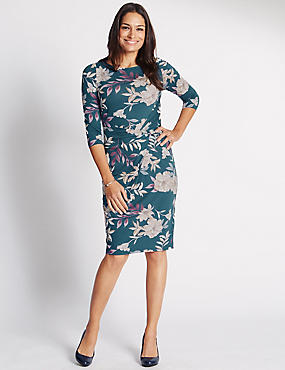 3/4 Sleeve Floral Print Bodycon Dress