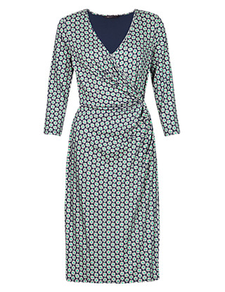 Split Circle Print Wrap Dress with StayNEW™ Clothing