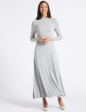 Jersey Turtle Neck Tunic Maxi Dress