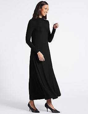 Jersey Turtle Neck Tunic Maxi Dress, BLACK, catlanding