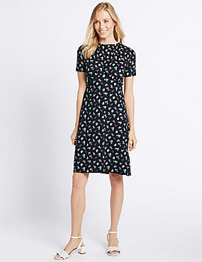 Ditsy Print Ruffle Short Sleeve Shift Dress