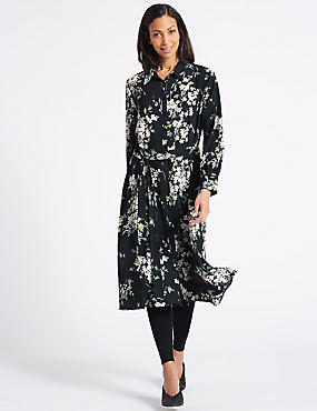 Floral Print Long Sleeve Shift Midi Dress