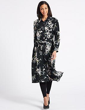 Floral Print Long Sleeve Shift Midi Dress , NAVY MIX, catlanding