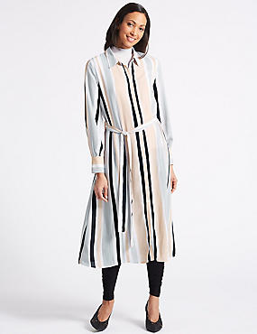 Striped Longline Shirt Midi Dress , PINK MIX, catlanding