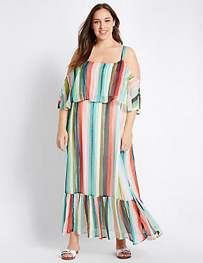 PLUS Striped Flared Maxi Dress