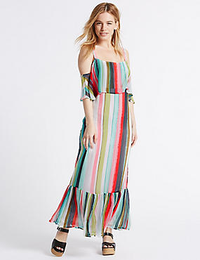 PETITE Striped Maxi Slip Dress
