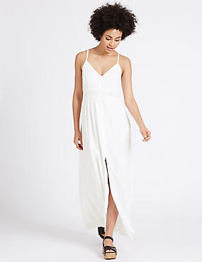 Lace Trim Slip Maxi Dress
