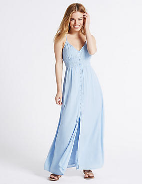 PETITE Lace Trim Slip Maxi Dress