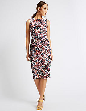Textured Tile Print Shift Dress