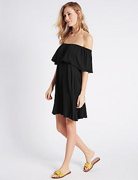 Pom Pom Bardot Half Sleeve Swing Dress