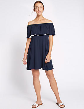 Contrasting Pom Pom Bardot Shift Dress