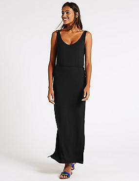 Deep Back Side Split Maxi Dress