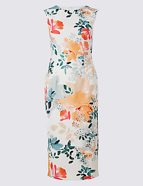 Floral Print Bodycon Midi Dress