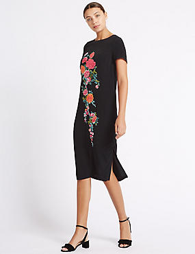 Embroidered Short Sleeve Tunic Midi Dress
